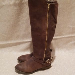 Mossimo distressed brown knee high boots size 7.5M